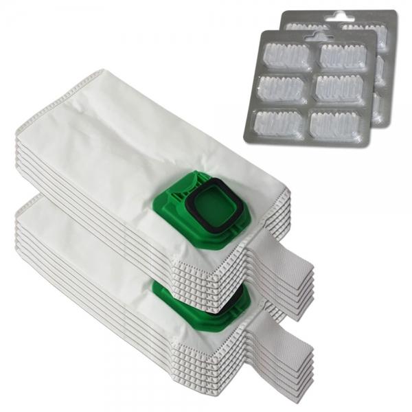 SPARSET 12 Staubbeutel + 12 Duftsteine geeignet für Vorwerk Kobold VK 140 150