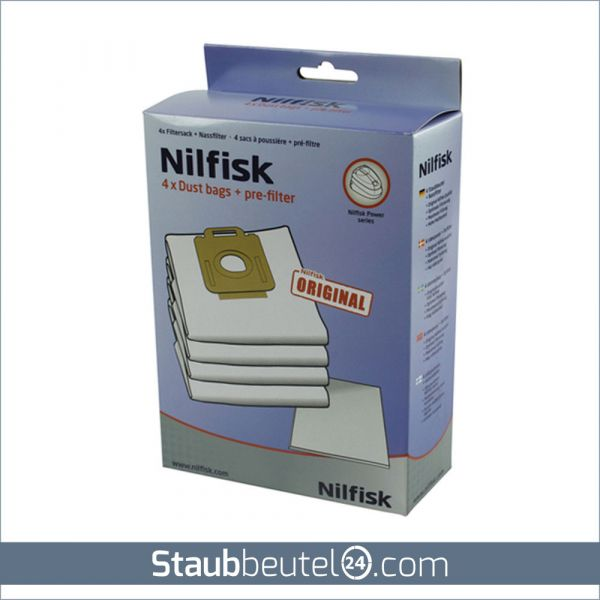 4 Original NILFISK Staubsaugerbeutel Typ Power