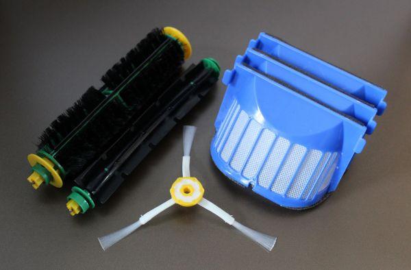 Wartungskit Bürsten Set + 3 AeroVac Filter + Seitenbürste geeignet für iRobot Roomba 564, 565 PET