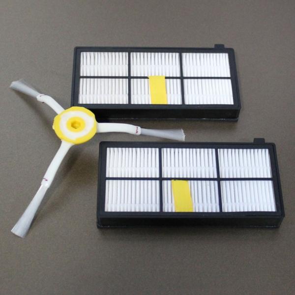 Sparset 2 HEPA Filter + Seitenbürste geeignet für iRobot Roomba Serie 800 und 900