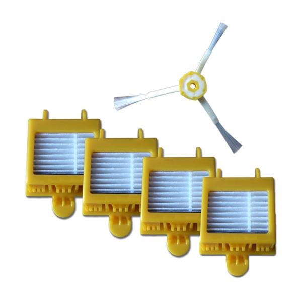 Sparset 4 HEPA Filter + Seitenbürste geeignet für iRobot Roomba Serie 700