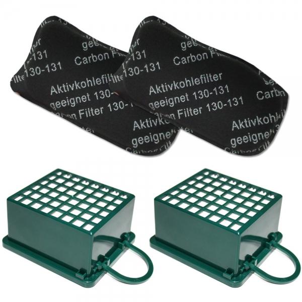 FILTERSET 2 HEPA Filter + 2 Kohlefilter geeignet für Vorwerk Kobold VK 130 131 SC