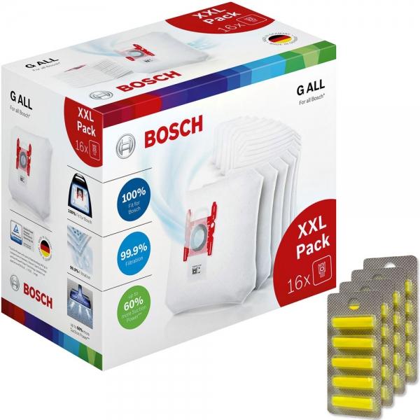 XXL - Pack 20 Duftstäbchen + 16 Staubsaugerbeutel für BOSCH PowerProtect Type G ALL - BBZ16GALL