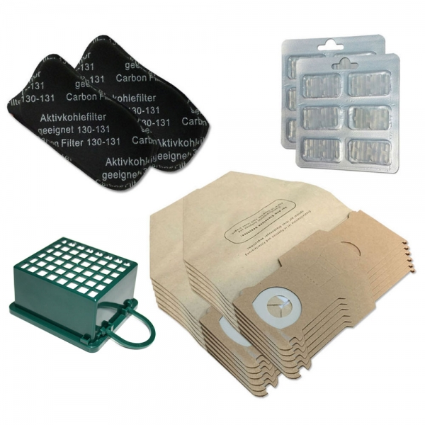 JAHRESSET 12 Staubbeutel + 3 Filter + 12 Duftsteine geeignet für Vorwerk Kobold VK 130 131 SC