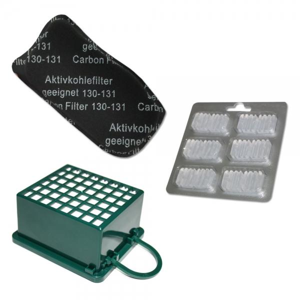 SET HEPA Filter + Kohlefilter + 6 Duftsteine geeignet für Vorwerk Kobold VK 130 131 SC