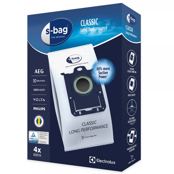 4 Staubsaugerbeutel für AEG, Electrolux, Philips S-Bag Classic Long Performance E201S
