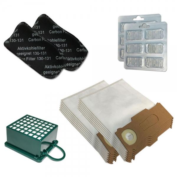 JAHRESSET 12 Staubbeutel + 3 Filter + 12 Duft geeignet für Vorwerk Kobold VK 130 131 SC - Mikrovlies