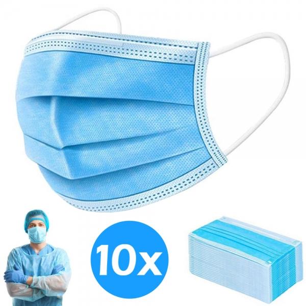 10x Atemschutzmaske, Mundschutz, Maske, Hygienemaske, Maske, Einwegmaske, 3 Lagig