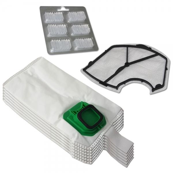 JAHRESSET 6 Staubbeutel + Motorfilter + 6 Duft geeignet für Vorwerk Kobold VK 140 150