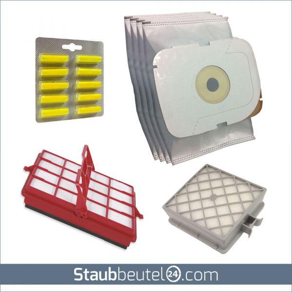 SPARSET 4 Staubsaugerbeutel + 2 Filter + 10 Duft geeignet für LUX / Electrolux Typ Intelligence