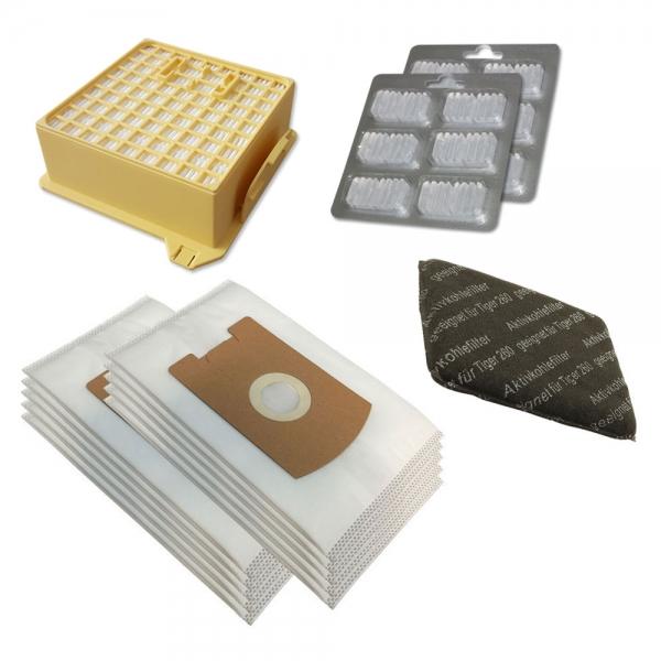 JAHRESSET 10 Staubbeutel + HEPA Filter + Kohlefilter + 12 Duft geeignet für Vorwerk Tiger VT 260