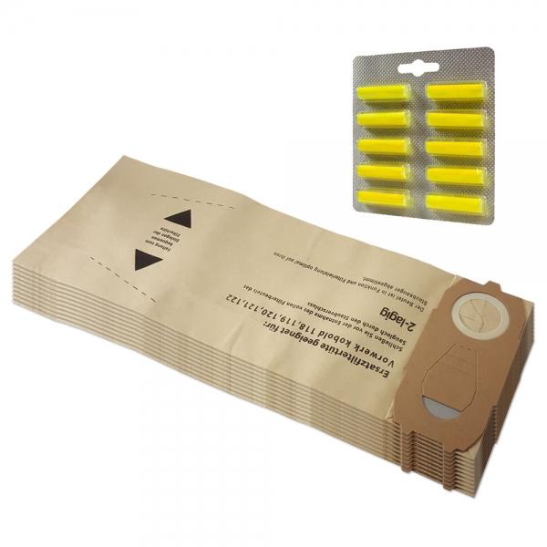 SPARSET 10 Staubbeutel + 10 Duftstäbchen geeignet für Vorwerk Kobold VK 118 119 120 121 122