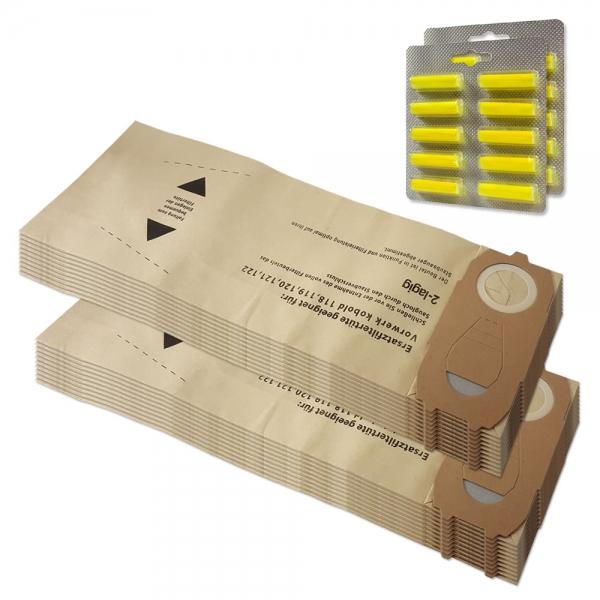 SPARSET 20 Staubbeutel + 20 Duftstäbchen geeignet für Vorwerk Kobold VK 118 119 120 121 122