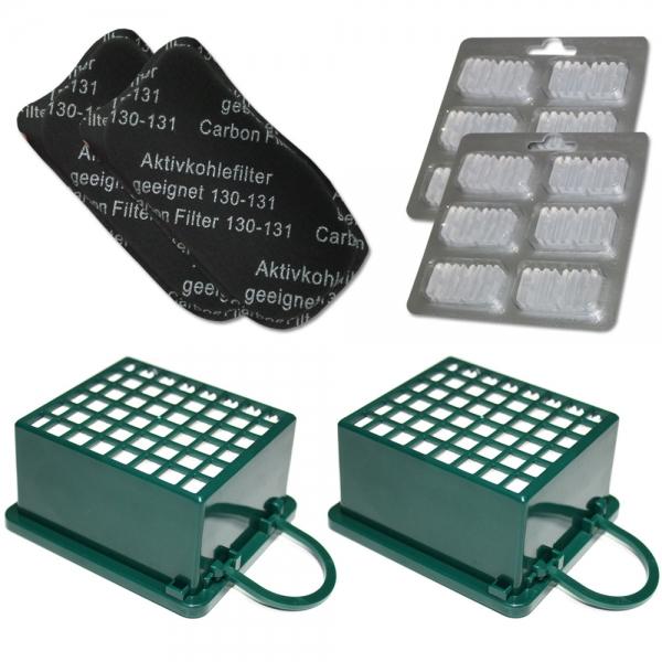 JAHRESSET 2 HEPA Filter + 2 Kohlefilter + 12 Duftsteine geeignet für Vorwerk Kobold VK 130 131 SC